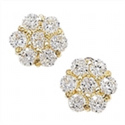 9ct Gold clear Cubic Zirconia Cluster Stud Earrings